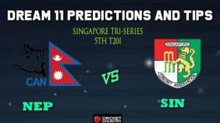 NEP vs SIN Dream11 Team Nepal vs Singapore, 5th T20I, Singapore Twenty20 Tri-Series 2019 – Cricket Prediction Tips For Today's Match NEP vs SIN at Singapore