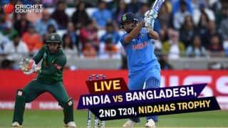 Live Cricket Score, India vs Bangladesh, Nidahas Trophy, 2nd T20I at Colombo: Shikhar Dhawan Dhawan falls after fifty