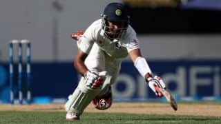 India lose Pujara early; score 121/2
