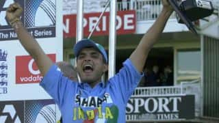 Sourav Ganguly rejoices after win against England in Natwest ODI Series 2002