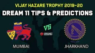 Dream11 Team Mumbai vs Jharkhand, Round 2, Elite Group A Vijay Hazare Trophy 2019 VHT ODD – Cricket Prediction Tips For Today's Match MUM vs JHA at Bangalore
