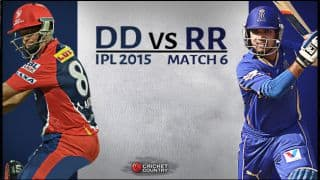 Live Cricket Score Delhi Daredevils vs Rajasthan Royals IPL 2015 Match 6 at Delhi, RR 186/7 after 20 overs: Southee wins a thriller for RR