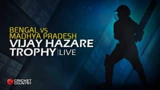 MP 263/5   Overs 46.5   Live Cricket Score, Vijay Hazare Trophy 2015-16, Bengal vs Madhya Pradesh, Group D match at Rajkot: MP won by 5 wickets