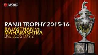 MAH 224/5   Live cricket score, Rajasthan vs Maharashtra, Ranji Trophy 2015-16, Group A match, Day 2 at Jaipur: Stumps, Maharashtra trail by 74 runs