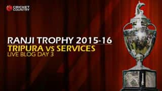 TRI 9/0 (f/o) | Live Cricket Score, Tripura vs Services, Ranji Trophy 2015-16, Group C at Agartala, Day 3: Stumps; Tripura trails by 274 runs