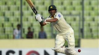 Younis Khan dismissed for 38 by Stuart Broad against England in 1st Test at Abu Dhabi