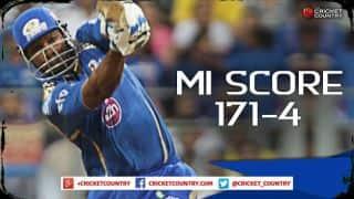 Mumbai Indians score 171/4 in crunch IPL 2015 contest against Kolkata Knight Riders