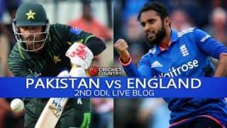 PAK 188/10 in 45.5 overs   Live Cricket Score, Pakistan vs England 2015, 2nd ODI at Abu Dhabi:England win; series equal 1-1