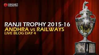 ANDHRA 124 | Live Cricket Score, Railways vs Andhra, Ranji Trophy 2015-16, Group B match, Day 3 at Delhi: Railways won by 148 runs; take 6 points