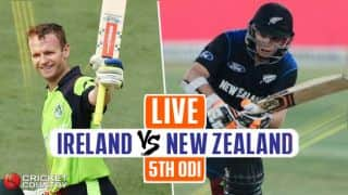 IRE 154 all-out in 39.3 overs | Live Cricket Score, Ireland vs New Zealand, 5th ODI at Dublin in Tri-Series 2017: NZ humiliate IRE