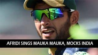 Shahid Afridi sings Mauka Mauka and mocks India's semi-final defeat