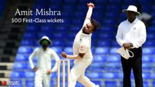 Amit Mishra completes 500 First-Class wickets