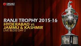 HYD 113/2 | Live cricket score, Hyderabad vs Jammu & Kashmir, Ranji Trophy 2015-16, Group C match, Day 2 at Hyderabad: Stumps; Saurashtra lead by 10 runs
