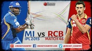 Live Cricket Score MI vs RCB in IPL 2015, Match 46 at Mumbai: RCB win by 39 runs
