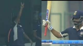 VIDEO: Ajinkya Rahane starts celebrating century on 97; Suresh Raina reminds him