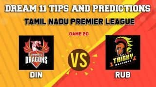 Dream11 Team Dindigul Dragons vs Ruby Trichy Warriors Match 20 TNPL 2019 TAMIL NADU T20 – Cricket Prediction Tips For Today's T20 Match DIN vs RUB at Dindigul