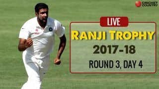 Live Cricket Score, Ranji Trophy 2017-18, Round 3, Day 4