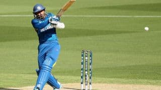 Tillakaratne Dilshan dismissed for 44 in ICC Cricket World Cup 2015 against England in Pool A, Match 22 at Wellington