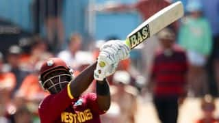 West Indies bring up 100 against India in ICC Cricket World Cup 2015