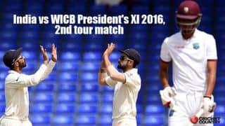 Match Drawn   WICB President's XI 215/6   IND vs President's XI 2016, Day 3