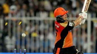 Aaron Finch dismissed by Shivam Sharma in Sunrisers Hyderabad vs Kings XI Punjab IPL 2014 match