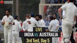 Live Cricket Score, India vs Australia 2016-17, 3rd Test, Day 5: Handscomb guides Australia to safety