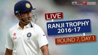 Ranji Trophy, 2016-17, Round 7, 1st Day: Gautam Gambhir not out on 29 runs