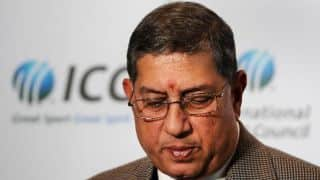 ICC Chairman N Srinivasan arrives from US