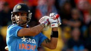 Virat Kohli dismissed for 82; score 153/5