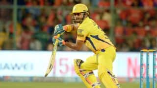 Suresh Raina dismissed for 28 by Harbhajan Singh against Mumbai Indians in IPL 2015 Final