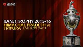 TRI 88/3   Live cricket score, Himachal Pradesh vs Tripura, Ranji Trophy 2015-16, Group C match, Day 3 at Dharamsala: Stumps; Tripura trail by 188 runs