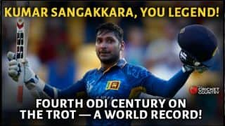 Kumar Sangakkara gets record fourth consecutive ton in match against Scotland at ICC Cricket World Cup 2015