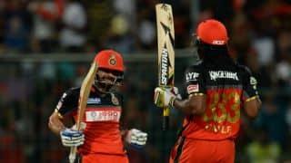 IPL 2017: Chris Gayle, Virat Kohli hit record-smashing fifties as Royal Challengers Bangalore (RCB) set Gujarat Lions (GL) 214 to win