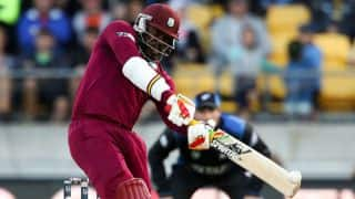 Chris Gayle dismissed for 61 by Adam Milne against New Zealand in ICC Cricket World Cup 2015 quarter-final