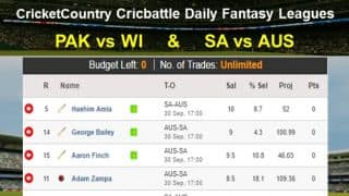 Daily Fantasy Cricket League Tips: PAK v WI:  SA v AUS on September 30
