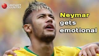 Neymar gets emotional while singing Brazil's national anthem at Fifa World Cup 2014