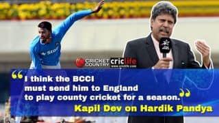 Kapil Dev wants Hardik Pandya to play county cricket to improve his game