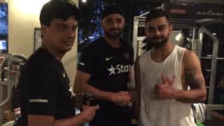 Photo: Virat Kohli, Harbhajan Singh during gym session in Sri Lanka
