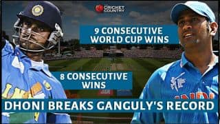 Dhoni breaks Ganguly's record of most consecutive wins in World Cup cricket