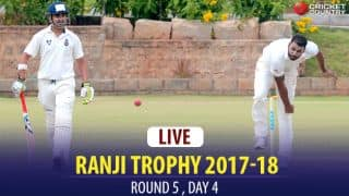 LIVE Cricket Scores, Ranji Trophy 2017-18, Round 5, Day 4