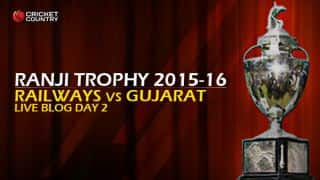 RAI 168/4   Live cricket score, Railways vs Gujarat, Ranji Trophy 2015-16, Group B match, Day 2 at Karnail Singh Stadium, Delhi: Stumps, Railways trail by 219 runs