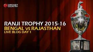 RAJ 102/3 I Live cricket score, Bengal vs Rajasthan, Ranji Trophy 2015-16, Group A match, Day 1 at Kolkata: Stumps