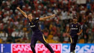 Kings XI Punjab reduced to 37/3 in 5 overs against Kolkata Knight Riders in Match 14 of IPL 2015