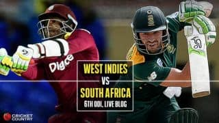 WI 204 all out, 38 overs, Live Cricket Score, West Indies vs South Africa, Tri-Nation Series 2016, Match 5 at St Kitts