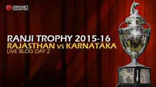 RAJ 219/7 I Live Cricket Score Rajasthan vs Karnataka, Ranji Trophy 2015-16 Group A match, Day 2 at Jaipur; Stumps