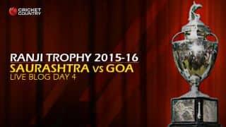 SAU 218/5, target 319 │ Live cricket score, Saurashtra vs Goa, Ranji Trophy 2015-16, Group C match, Day 4 at Rajkot: Hosts pushed on backfoot after quick dismissals