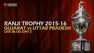 UP 163/7 I Live Cricket Score,Gujarat vs Uttar Pradesh, Ranji Trophy 2015-16, Group B match, Day 2 at Valsad; Stumps