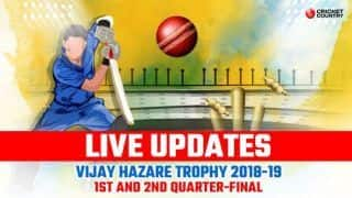 Vijay Hazare Trophy 2018-19 LIVE: Live Cricket Score, Quarter-Final 1 & 2