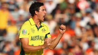 Captain Steven Smith cautions fast bowler Mitchell Starc for aggressive behaviour
