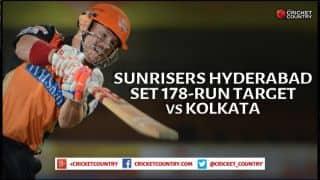 David Warner, Shikhar Dhawan help Sunrisers Hyderabad set 178-run target vs Kolkata Knight Riders in IPL 2015 match 19